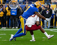 Pitt defensive back Jazzee Stocker (7) puts a hit on Boston College kick returner Travis Levy (23). The Boston College Eagles defeated the Pitt Panthers 26-19 in the football game played at Heinz Field, Pittsburgh Pennsylvania on November 30, 2019.