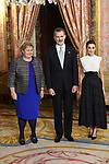 King Felipe VI of Spain (C) and Queen Letizia of Spain (R) receive Prime Minister of Norway Erna Solberg (L) because of the United Nations conference for the Climate Summit 2019 (COP25) at the Royal Palace. December 2,2019. (ALTERPHOTOS/Pool/Carlos Alvarez)