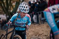 eventual winner Denise Betsema (NED/Marlux-Bingoal) mid-race<br /> <br /> women's race<br /> CX World Cup Koksijde 2018