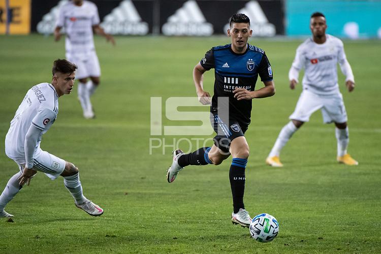 SAN JOSE, CA - NOVEMBER 04: Cristian Espinoza #10 of the San Jose Earthquakes during a game between Los Angeles FC and San Jose Earthquakes at Earthquakes Stadium on November 04, 2020 in San Jose, California.