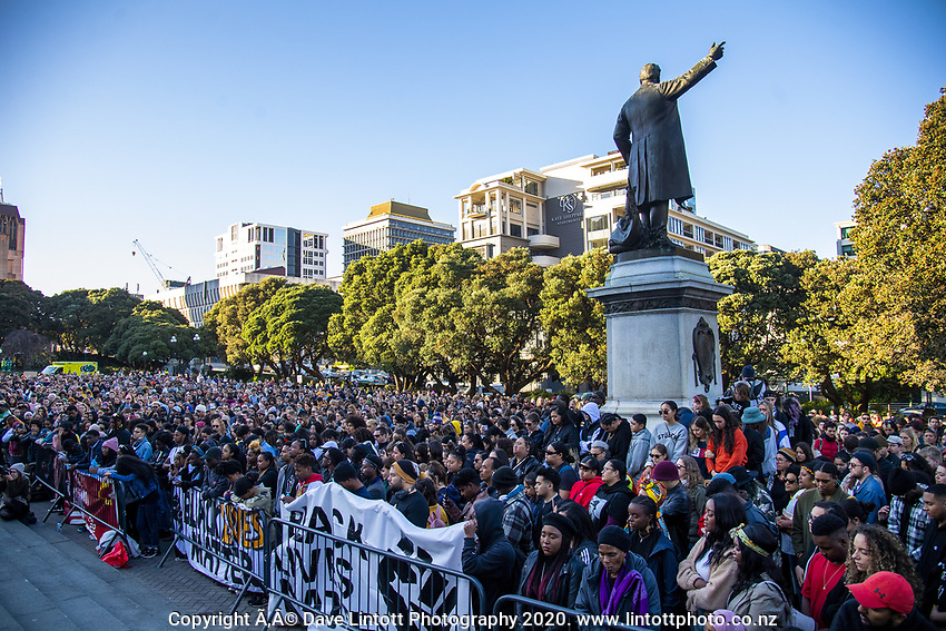Black Lives Matter protest march from Civic Square to Parliament in Wellington, New Zealand on Sunday, 14 June, 2020. Photo: Dave Lintott / lintottphoto.co.nz