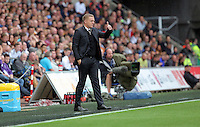 Pictured: Swansea manager Garry Monk gives the thumbs up after his team went 2-1 up Sunday 30 August 2015<br /> Re: Premier League, Swansea v Manchester United at the Liberty Stadium, Swansea, UK