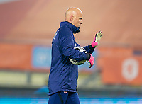 BREDA, NETHERLANDS - NOVEMBER 27: Philip Poole of the USWNT talks to his goalkeepers before a game between Netherlands and USWNT at Rat Verlegh Stadion on November 27, 2020 in Breda, Netherlands.