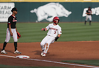 Arkansas Zack Gregory (3) runs to third, Monday, June 7, 2021 in the NCAA Fayetteville Regional at Baum-Walker Stadium in Fayetteville. Check out nwaonline.com/210608Daily/ for today's photo gallery. <br /> (NWA Democrat-Gazette/Charlie Kaijo)