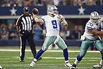 Dallas Cowboys quarterback Tony Romo (9) in action during the pre-season game between the Cincinnati Bengals and the Dallas Cowboys at the AT & T stadium in Arlington, Texas. Dallas leads Cincinnati 14 to 7 at halftime.
