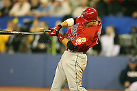March 7, 2009:  Designated Hitter Joey Votto (19) of Canada breaks his bat during the first round of the World Baseball Classic at the Rogers Centre in Toronto, Ontario, Canada.  Team USA defeated Canada 6-5 in both teams opening game of the tournament.  Photo by:  Mike Janes/Four Seam Images