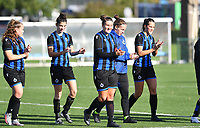 Brugge's players with Brugge's Julie Vankeirsbilck ,  Brugge's Febe Vanhaecke , Brugge's Ellen Martens , Brugge's goalkeeper Elke Geeraert and Brugge's Saar Verdonck  pictured thanking the fans after winning a female soccer game between the women teams of Club Brugge YLA Dames and Union Saint-Ghislain Tertre-Hautrage Ladies on the 1/16 th qualifying round for the Belgian Womens Cup 2020  2021 , on saturday 26 th of September 2020  in Brugge , Belgium . PHOTO SPORTPIX.BE | SPP | DAVID CATRY