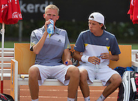 August 9, 2014, Netherlands, Rotterdam, TV Victoria, Tennis, National Junior Championships, NJK,  Final boys 18 years doubles:   Stephan Gerritsen (L) and Guus Koevermans(NED)<br /> Photo: Tennisimages/Henk Koster