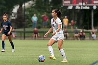 NEWTON, MA - AUGUST 29: Samantha Agresti #15 of Boston College dribbles at midfield during a game between University of Connecticut and Boston College at Newton Campus Soccer Field on August 29, 2021 in Newton, Massachusetts.