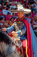Ornately attired rider at the Charros Rodeo Fiesta Event. San Antonio, Texas.