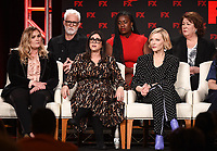 """PASADENA, CA - JANUARY 9: (L-R Front Row) Executive Producers Coco Francini, Stacey Sher, Executive Producer/cast member Cate Blanchett, (L-R Back Row) cast members John Slattery, Uzo Aduba, and Margo Martindale attend the panel for """"Mrs. America"""" during the FX Networks presentation at the 2020 TCA Winter Press Tour at the Langham Huntington on January 9, 2020 in Pasadena, California. (Photo by Frank Micelotta/FX Networks/PictureGroup)"""