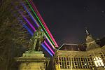 Nederland, Utrecht, 21-03-2011, Lasershow van de Uithof ( universiteits centrum/ campus naar de Dom in de binnenstad van Utrecht nav het 375 jarig bestaan van de Universiteit Utrecht..photo Michael Kooren/ HH