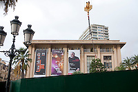 Barriers block construction work from view in front of the soon-to-be-demolished Sporting d'Hiver on Casino Square, which is part of the urban development project to replace the building with a new commercial space, Monte Carlo, Monaco, 18 October 2013