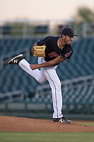 AZL Indians 1 starting pitcher Raymond Burgos (46) follows through on his delivery during an Arizona League game against the AZL White Sox at Goodyear Ballpark on June 20, 2018 in Goodyear, Arizona. AZL Indians 1 defeated AZL White Sox 8-7. (Zachary Lucy/Four Seam Images)