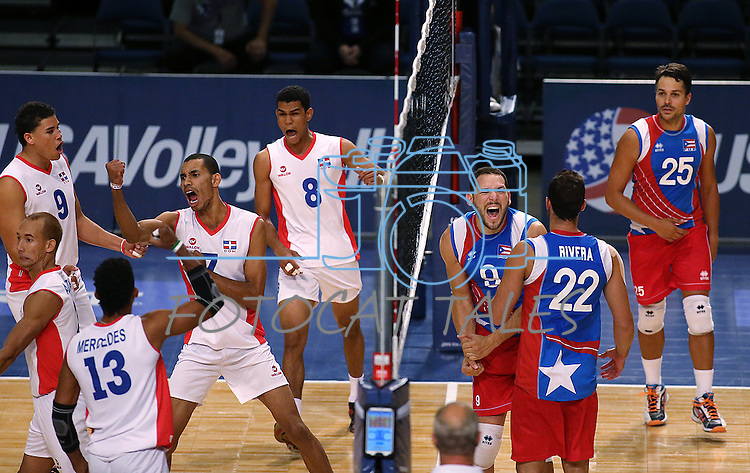 Players react to a point in a Pan American Cup match between Puerto Rico and Dominican Republic at the Reno Events Center in Reno, Nev., on Monday, Aug. 17, 2015. <br /> Photo by Cathleen Allison