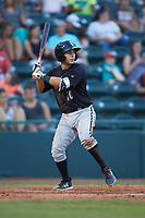 Nick Madrigal (10) of the Kannapolis Intimidators at bat against the Hickory Crawdads at L.P. Frans Stadium on July 20, 2018 in Hickory, North Carolina. The Crawdads defeated the Intimidators 4-1. (Brian Westerholt/Four Seam Images)
