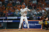 Lance Ford (28) of the Texas Longhorns at bat against the Missouri Tigers in game eight of the 2020 Shriners Hospitals for Children College Classic at Minute Maid Park on March 1, 2020 in Houston, Texas. The Tigers defeated the Longhorns 9-8. (Brian Westerholt/Four Seam Images)