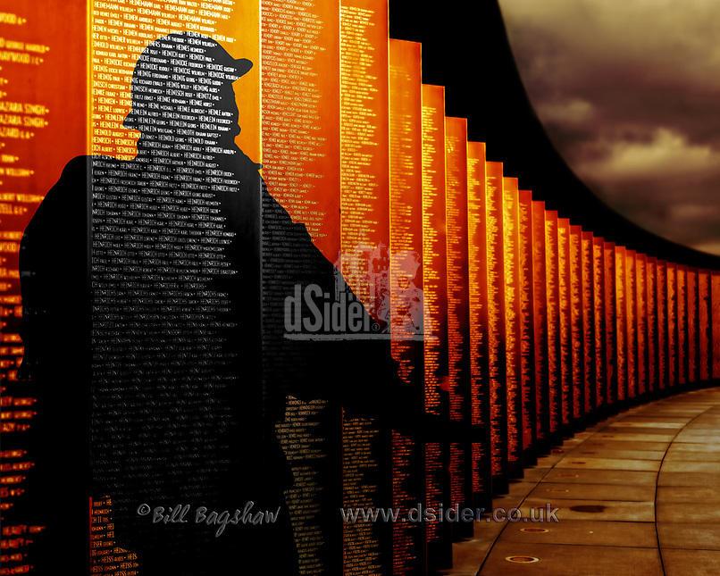 Silhouette of soldier at Ring of Remembrance Notre Dame de Lorette Northern France. The ring of Remembrance memorial commemorates 580,000 soldiers of all nationalities killed in Northern France. Bronze panels are engraved with the names of all the soldiers who died on the battlefields of Pas-de-Calais France during WWI. World War 1 was from 1914-1918. Known in France as Anneau de la Mémoire or officially known as Mémorial International Notre-Dame-de-Lorette.