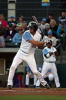 Myrtle Beach Pelicans outfielder Jared Hoying #32 at bat during a game against the Wilmington Blue Rocks at Tickerreturn.com Field at Pelicans Ballpark on April 7, 2012 in Myrtle Beach, SC. Myrtle Beach defeated Wilmington 2-1. (Robert Gurganus/Four Seam Images)