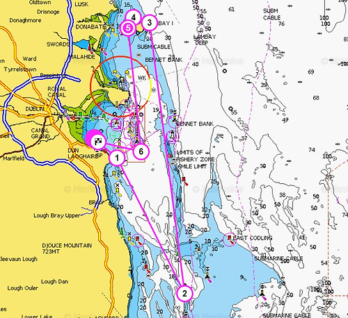 ISORA's proposed 64-mile course from Dun Laoghaire for Race 8 of the Viking Marine Coastal Series