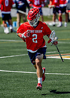 1 May 2021: Stony Brook University Seawolves Midfielder Connor Grippe, a Senior from Setauket, NY, in action against the University of Vermont Catamounts at Virtue Field in Burlington, Vermont. The Cats edged out the Seawolves 14-13 with less than one second to play in their America East Men's Lacrosse matchup. Mandatory Credit: Ed Wolfstein Photo *** RAW (NEF) Image File Available ***