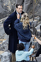Pictured: Friday 18 June 2021<br /> Re: Film set with a scene being filmed with Hugh Laurie as a director at Three Cliffs Bay in the Gower Peninsula, Wales, UK.