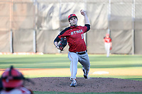 GREENSBORO, NC - FEBRUARY 25: Tristan Amone #16 of Fairfield University throws a pitch during a game between Fairfield and UNC Greensboro at UNCG Baseball Stadium on February 25, 2020 in Greensboro, North Carolina.