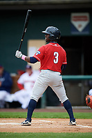 New Hampshire Fisher Cats center fielder Jonathan Davis (3) at bat during the first game of a doubleheader against the Harrisburg Senators on May 13, 2018 at FNB Field in Harrisburg, Pennsylvania.  New Hampshire defeated Harrisburg 6-1.  (Mike Janes/Four Seam Images)