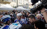 race winner Arnaud Démare (FRA/FDJ) celebrated with an energy-drink-shower by his teammates after winning the 107th Milano-Sanremo (2016)