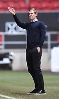 16th February 2021; Ashton Gate Stadium, Bristol, England; English Football League Championship Football, Bristol City versus Reading; Dean Holden Manager of Bristol City gestures to his team
