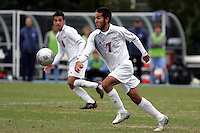 SMU's Daniel Lopez (7) turns upfield as teammate Bruno Guarda (8) looks on. Southern Methodist University defeated the University of North Carolina 3-2 in double overtime at Fetzer Field in Chapel Hill, North Carolina, Saturday, December 3, 2005.