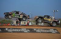 Apr 16, 2011; Surprise, AZ USA; LOORRS driver Marty Hart (15) leads Rob Maccachren (1) during round 3 at Speedworld Off Road Park. Mandatory Credit: Mark J. Rebilas-