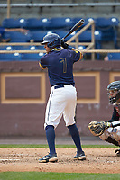 Justin Williams (7) of the North Carolina A&T Aggies at bat against the North Carolina Central Eagles at Durham Athletic Park on April 10, 2021 in Durham, North Carolina. (Brian Westerholt/Four Seam Images)