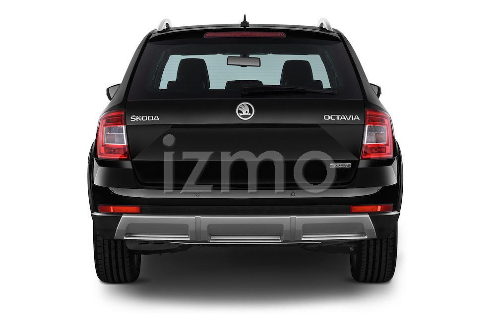 Straight rear view of a 2015 Skoda Octavia Scout 5 Door Wagon Rear View  stock images