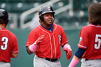 New Hampshire Fisher Cats third baseman Vladimir Guerrero Jr. (27) during the first game of a doubleheader against the Harrisburg Senators on May 13, 2018 at FNB Field in Harrisburg, Pennsylvania.  Harrisburg defeated New Hampshire 2-1.  (Mike Janes/Four Seam Images)