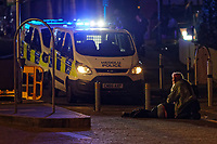 Pictured: A young man lays on the tarmac in Swansea. Tuesday 31 December 2019 to Wednesday 01 January 2020<br /> Re: Revellers on a night out for New Year's Eve in Wind Street, Swansea, Wales, UK.