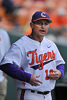 Head coach Monte Lee (18) of the Clemson University Tigers in a game against the Wofford College Terriers on Tuesday, March 1, 2016, at Doug Kingsmore Stadium in Clemson, South Carolina. Clemson won, 7-0. (Tom Priddy/Four Seam Images)