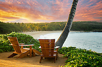 Two adirondac chairs overlooking ocean and beach at Four Sesons. Lanai, Hawaii.
