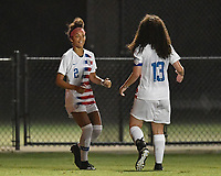 Lakewood Ranch, FL - Wednesday, October 10, 2018:   Makenna Morris, Sophia Jones, goal celebration during a U-17 USWNT match against Colombia.  The U-17 USWNT defeated Colombia 4-1.