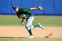 North Dakota State Bisons Max Casper #4 during a game vs Bradley Braves at Chain of Lakes Park in Winter Haven, Florida;  March 17, 2011.  Bradley defeated North Dakota State 6-5.  Photo By Mike Janes/Four Seam Images