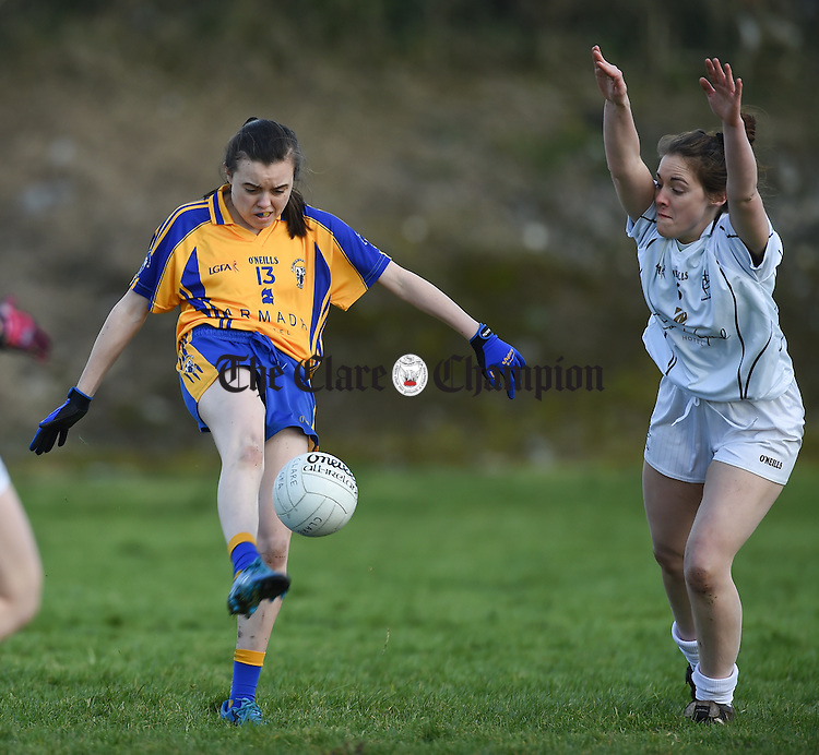 Grainne Nolan of Clare in action against Jane O Donoghue of Kildare during their Lidl National Football League game at Corofin. Photograph by John Kelly.