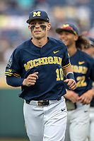 Michigan Wolverines third baseman Blake Nelson (10) before Game 6 of the NCAA College World Series against the Florida State Seminoles on June 17, 2019 at TD Ameritrade Park in Omaha, Nebraska. Michigan defeated Florida State 2-0. (Andrew Woolley/Four Seam Images)