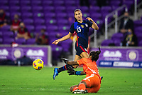 ORLANDO CITY, FL - FEBRUARY 24: Alex Morgan #13 of the USWNT kicks the ball during a game between Argentina and USWNT at Exploria Stadium on February 24, 2021 in Orlando City, Florida.