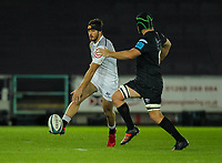 8th October 2021;  Swansea.com Stadium, Swansea, Wales; United Rugby Championship, Ospreys versus Sharks; Marius Louw of Cell C Sharks kicks through while pressure from Morgan Morris of Ospreys
