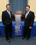 Gov. Brian Sandoval, left, and Lt. Gov. Brian Krolicki pose with the NV150 time capsule at the Capitol, in Carson City, Nev., on Monday, Dec. 15, 2014.<br /> Photo by Cathleen Allison
