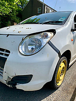 2019 06 04 Car repaired with gaffer tape, taken off the road by police in Pembrokeshire, Wales, UK