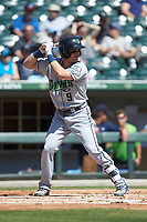 Tyler Smith (9) of the Gwinnett Stripers at bat against the Charlotte Knights at BB&T BallPark on May 2, 2018 in Charlotte, North Carolina.  The Knights defeated the Stripers 6-5.  (Brian Westerholt/Four Seam Images)