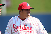 Reading Phillies second baseman Fidel Hernandez #14 warms up before a game against the New Hampshire Fisher Cats at FirstEnergy Stadium on May 5, 2011 in Reading, Pennsylvania.  New Hampshire defeated Reading by the score of 10-5.  Photo By Mike Janes/Four Seam Images