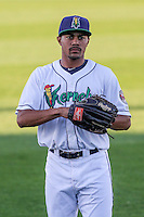 Cedar Rapids Kernels outfielder LaMonte Wade (48) warms up prior to game five of the Midwest League Championship Series against the West Michigan Whitecaps on September 21st, 2015 at Perfect Game Field at Veterans Memorial Stadium in Cedar Rapids, Iowa.  West Michigan defeated Cedar Rapids 3-2 to win the Midwest League Championship. (Brad Krause/Four Seam Images)