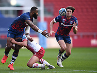 27th March 2021; Ashton Gate Stadium, Bristol, England; Premiership Rugby Union, Bristol Bears versus Harlequins; Semi Radradra of Bristol Bears offloads to Piers O'Conor of Bristol Bears who goes on to score